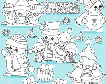 80% OFF SALE Christmas snowmen digital stamp commercial use, vector graphics, digital stamp,  - DS1042