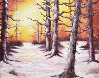 Original Oil Painting Old Forest