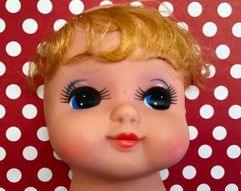 Vintage Doll Head Blonde Hair Craft Supply Big Eyes Kitschy Kitsch Rubber Doll Face Altered Art
