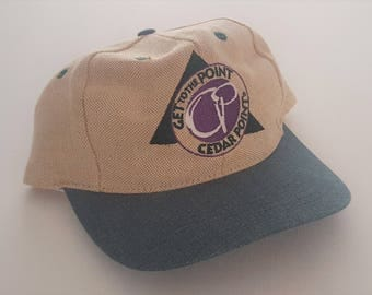 Vintage Cedar Point 100% Cotton Coaster Gear Snapback Hat VTG