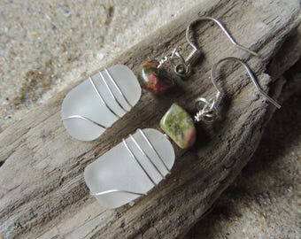 Handmade Surf Tumbled Natural Authentic White Sea Glass Earrings With Bloodstone Accents Beachy
