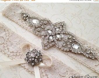 SUMMER SALE Ivory Lace Garter Set, Lace Wedding Garter Set, Bridal garter Set, Rhinestone Garter, Ivory Garter, Crystal Garter