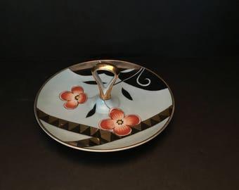 Noritake Art Deco Lemon Tidbit Plate with Handle