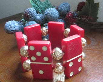 Vintage Red Catalin Domino Bracelet with flowered gold  metal  beads  - Awesome find!  = Estate find!