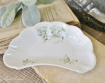 Antique Bone Dish White Ironstone Green Floral Transferware Soap Dish  Farmhouse Decor Fixer Upper Decor Soap Dish