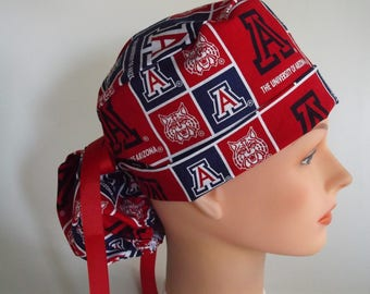University of Arizona fabric ponytail scrub hat - Womens lined surgical scrub cap, Nurse surgical cap, 17-4900w