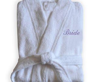 Bridal Bathrobe, Personalize Bathrobe, Bridal Shower Gift, Bridesmaids Gift, Spa Robe, Bathroom Apparel, Robe For Bridesmaid, Wedding Gift