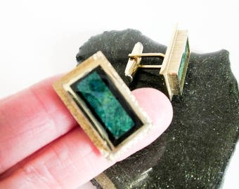 Modernist Cuff links, Large Abstract Enamel Cuff Links, Vintage Black Rectangular Border Cufflinks,1950s Continental Cuff Links Gold Plated.