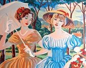 """Vintage PBN Painting, 1950s Paint by Number, """"Two Southern Girls""""  22"""" x 19"""" Painting, VERY Unusual!"""