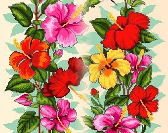 Hibiscuses and Hummingbirds 1 and 2 -Cross Stitch PDF Pattern