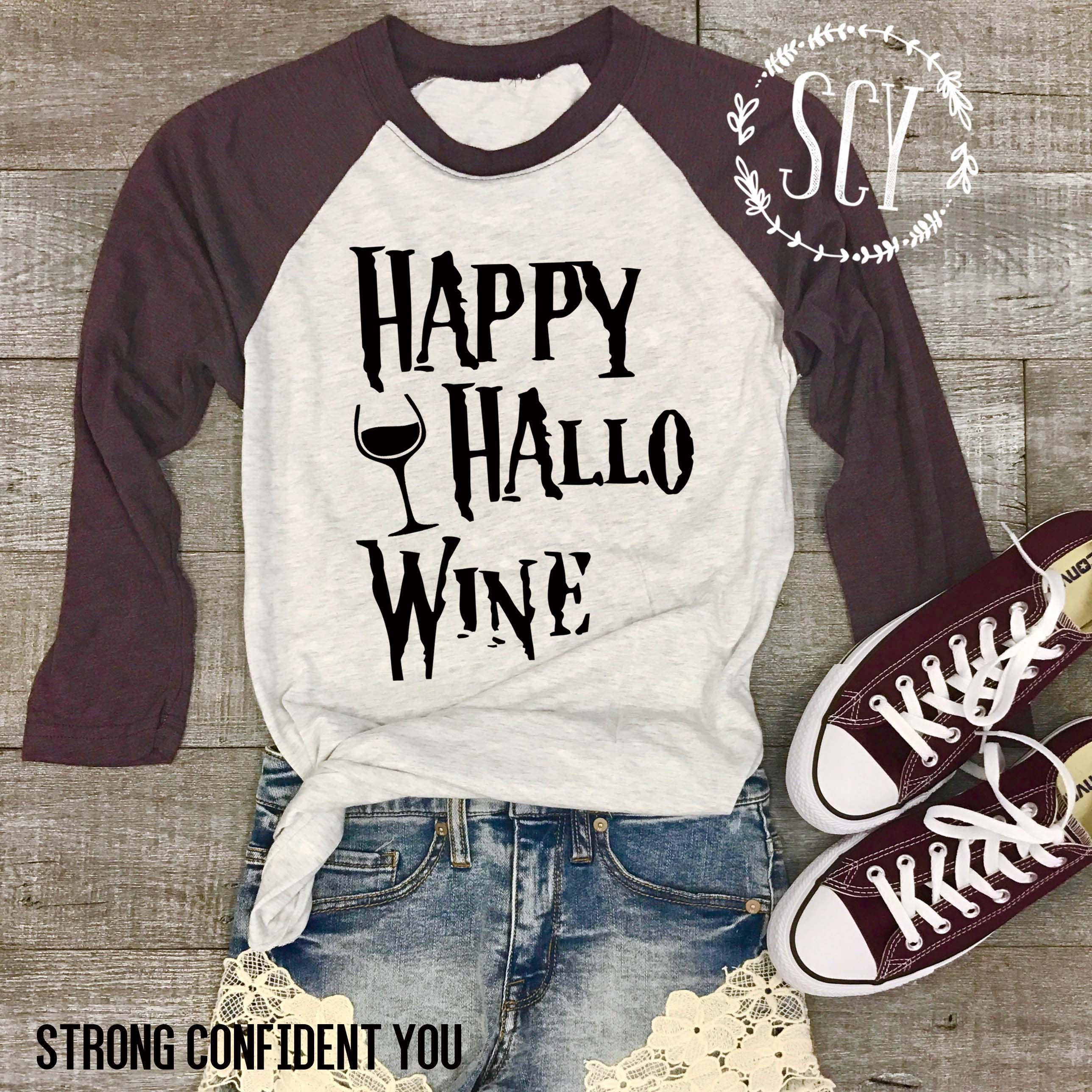 Happy Hallo Wine Baseball Style Shirt - Halloween Baseball Shirt - Wine Baseball Shirt - Merlot - Burgundy - Funny Halloween Tee