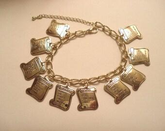Vintage Ten 10 Commandment Charm Bracelet Gold Tone