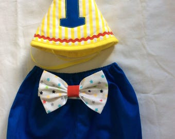 Baby boy carnival,circus bloomers /diaper cover ,bowtie cake smash.12 months