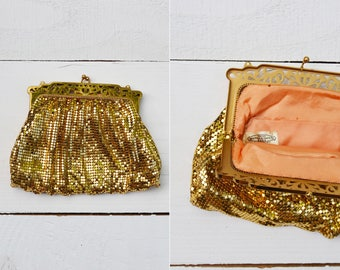 Jerico Clutch / 1940s Whiting and Davis purse / vintage gold mesh evening bag