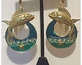 Enamel and Gold Tone Sword Fish and Beach Scene Earrings, Beach, Fish, Ocean Starfish Earrings