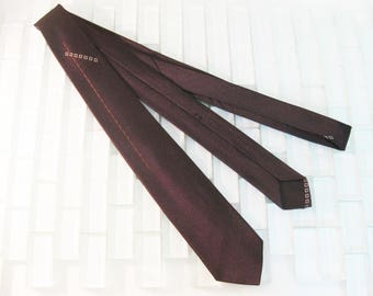 Mod Dark Brown Black Skinny Tie w Accent Embroidery 1950s Mad Men 2 inches wide