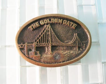 Golden Gate Bridge Brass Belt Buckle San Francisco - California Western Buckle - BTS Solid Brass