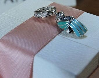 Pandora Sterling Silver Tropical Parrot, Mixed Enamels  Teal & Clear CZ Charm