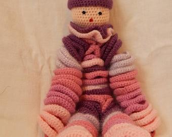Crochet pink woolen puppet