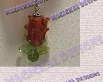 Red, Flower, Pendant, on multi strand Ribbon, necklace, lamp-worked glass, crystal, stocking stuffer, teacher gift, under 10 dollars