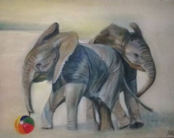 Elephant Elephants  Baby Playing Football Original Animal Pastel Painting Drawing  24 x 18 cm (9.5 x 7 in)