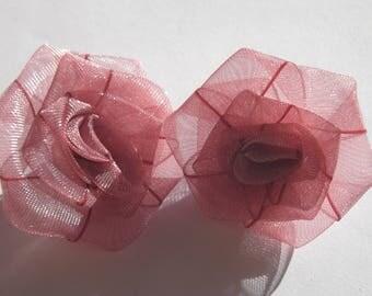 2 big old rose color - (A212 organza bows