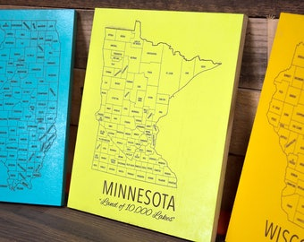 Engraved State Maps, Counties & State Motto, Travel Gifts, Wall Hangings, Laser Engraved, Personalized, Choose Your Color and Design
