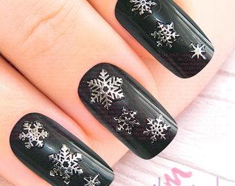 Snowflake nail decal etsy silver snowflake christmas adhesive nail art small stickers small craft stickers xmas frozen prinsesfo Images