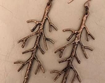 Handmade Bronze Twig Earrings