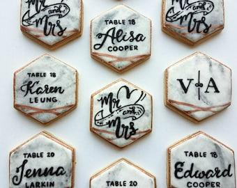 1 dozen 3 inch Fancy Marbled Hexagon Sugar Cookies w/ Gold, Silver or Rose Gold - Placecard Cookies, Monogram Cookies, Geometric Cookies