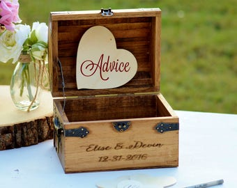 Boho Wedding Advice Box, Advice For The Bride And Groom, Bride To Be, Bridal Shower Guest Book, Rustic Wedding Guest Book, Unique Card Box