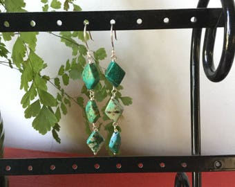 Green marbled, Chinese turquoise, dangle earrings