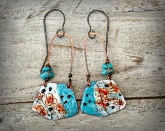Torch Fired Enamel Earrings, Turquoise Earrings, Rustic Boho Earrings, Colorful Enamel Earrings, Gypsy Bohemian Earrings, Copper Ear Wires.