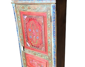Antique Indian Floral Hand painted Cabinet Armoire Cupboard One of Unique Kind Shabby Chic Decor CLEARANCE SALE