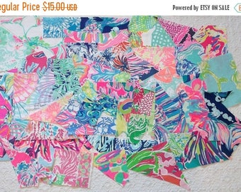MAKERSALE Preppy Colorful Lilly Pulitzer Fabric Scraps 40pcs