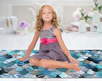 Mermaid Decor Floor Rug - Mermaid Print - Floor Rug - 3 Sizes:  2' x 3', 3' x 5', 4' x 6'