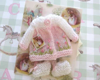 dollhouse baby doll clothes knitted coat and booties 12th scale miniature Rainbowminiatures