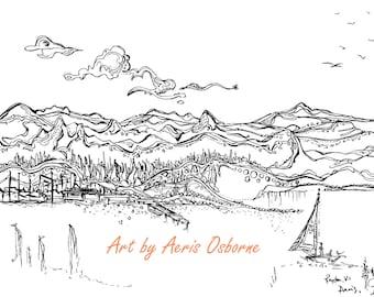 Vancouver Island Coastal Printable Adult Coloring,Royston,Sail,Ink Pen,digital download,Illustration,Ink Pen Drawing,Art by Aeris Osborne