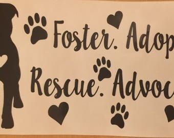 Pitbull decal, adopt foster rescue advocate, pitbull car decal, pitbull instant pot deca, pitbull appliance decal, pitbull laptop decal