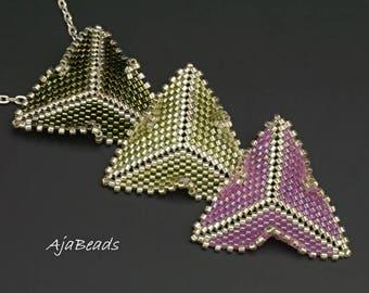 Pendant - triangular leaves - pink-green