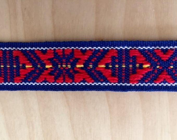 Scandinavian Folk Art Ribbon Hand Woven Blue and Red Per Yard