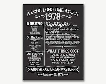 The Year 1978, Personalized 40th Birthday Printable Poster, Printable 40th Birthday Sign, Fun Facts 1978, 40th Birthday Gift, Digital File