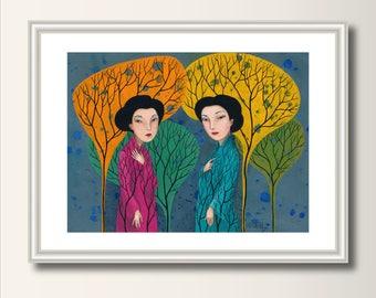 Art Print Talk, Print, Print of Original Acrylic Painting, Art Poster