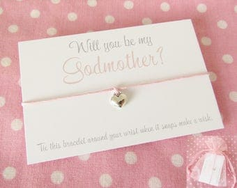 Will You Be My Godmother? Christening Baptism Heart Charm Wish Bracelet Gift & Bag