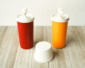 Ketchup and Mustard Tupperware Containers Vintage  