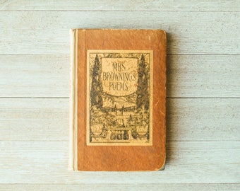 Antique Mrs Browning's Poems | Elizabeth Browning | 1887 | Antique Book | Poetry Book
