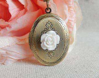 White Flower Locket necklace,Photo Locket necklace, Locket jewelry,Unique gift for her,Stocking stuffer