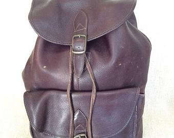 20% SUMMER SALE Genuine vintage brown leather backpack rucksack front flap Colombia