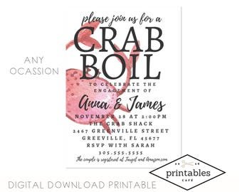 Any Ocassion Low Country Crab Seafood Boil Dinner Party Invite DIGITAL Custom Invitacion printable pdf download