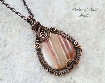 Red Striped Agate Wire wrapped pendant necklace / Woven Wire Wrapped jewelry handmade / Copper wire jewelry / gemstone pendant
